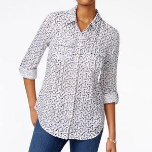 Anchor Print Linen Shirt